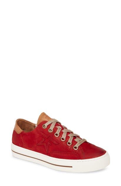 Paul Green Caden Platform Low Top Sneaker In Chili Cuoio Combo