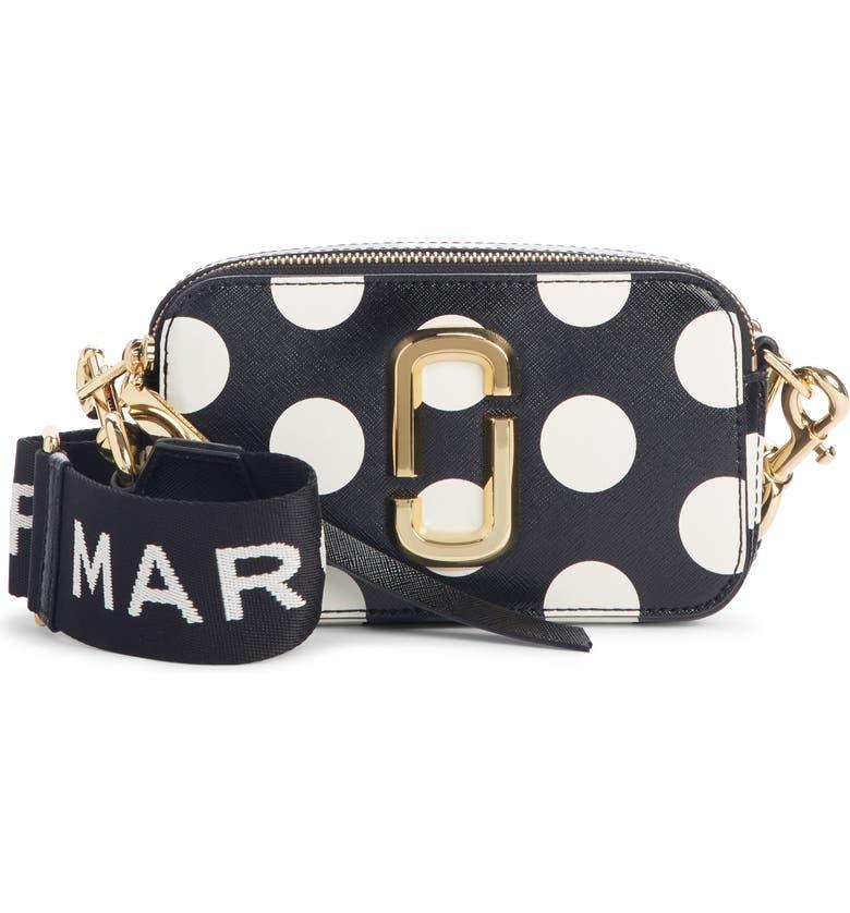 MARC JACOBS Dot Snapshot Leather Crossbody Bag, Main, color, 001