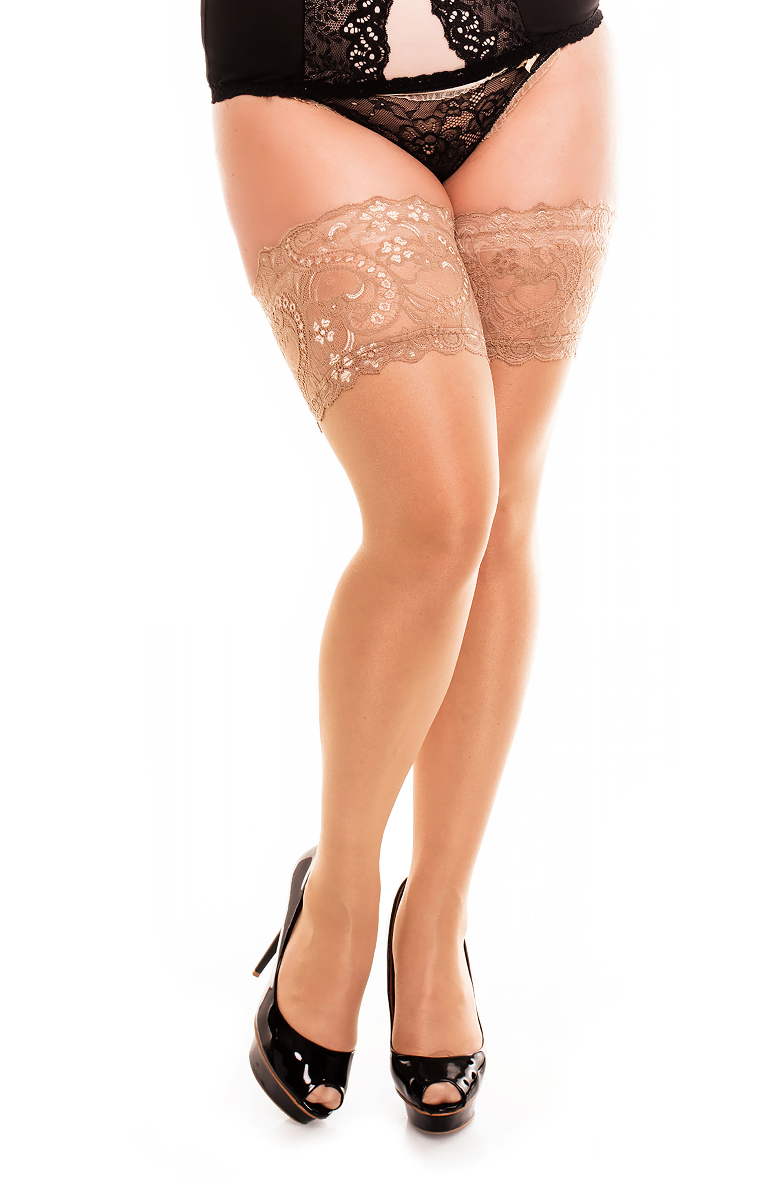 Comfort Lace Top Opaque Stockings