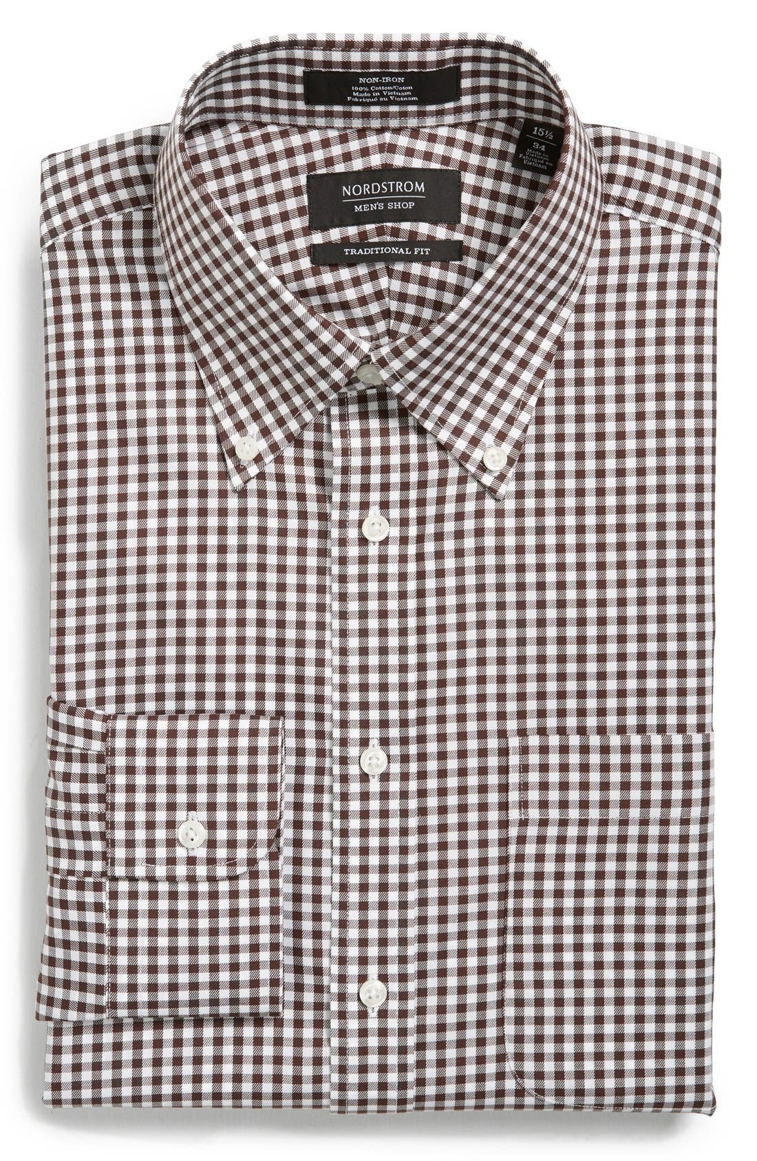 ,                             Traditional Fit Non-Iron Gingham Dress Shirt,                             Main thumbnail 39, color,                             210