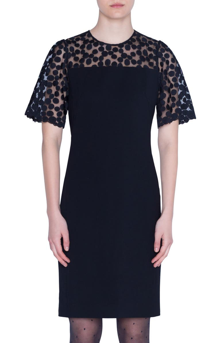 AKRIS PUNTO Embroidered Dot Wool Sheath Dress, Main, color, BLACK