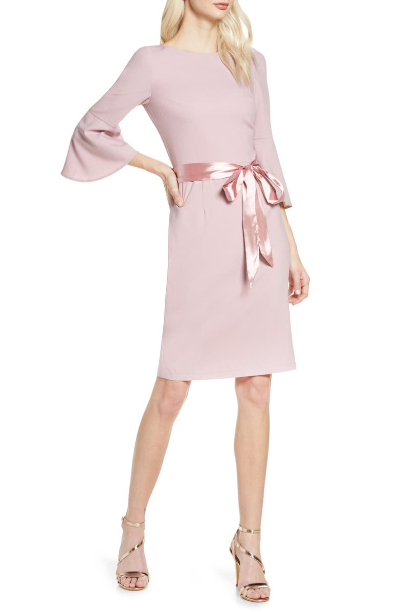 CHI CHI LONDON Yohana Satin Sash Cocktail Dress, Main, color, MINK