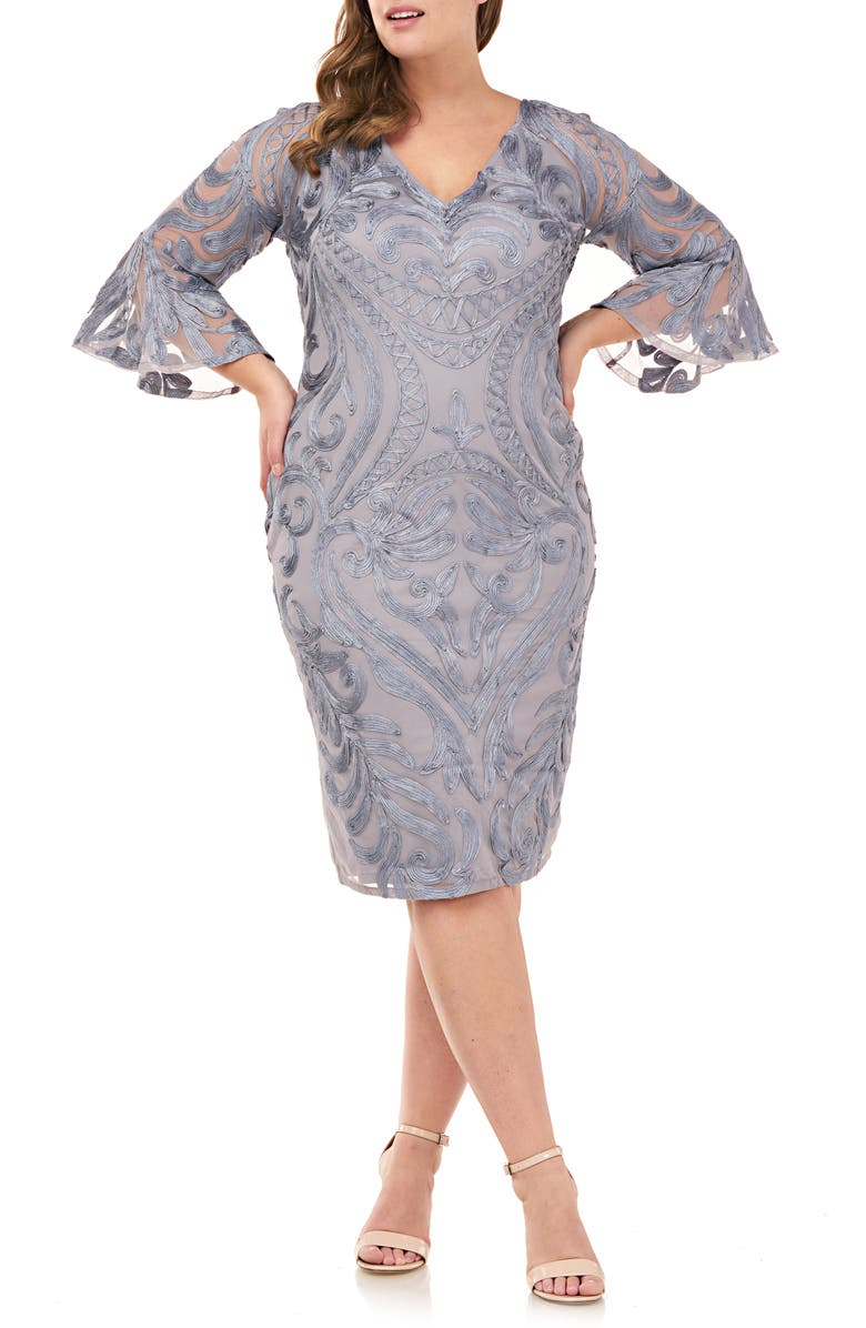 JS COLLECTIONS Bell Sleeve Soutache Cocktail Dress, Main, color, SMOKEY GREY