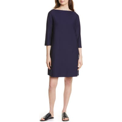 Petite Eileen Fisher Bateau Neck Shift Dress, Blue