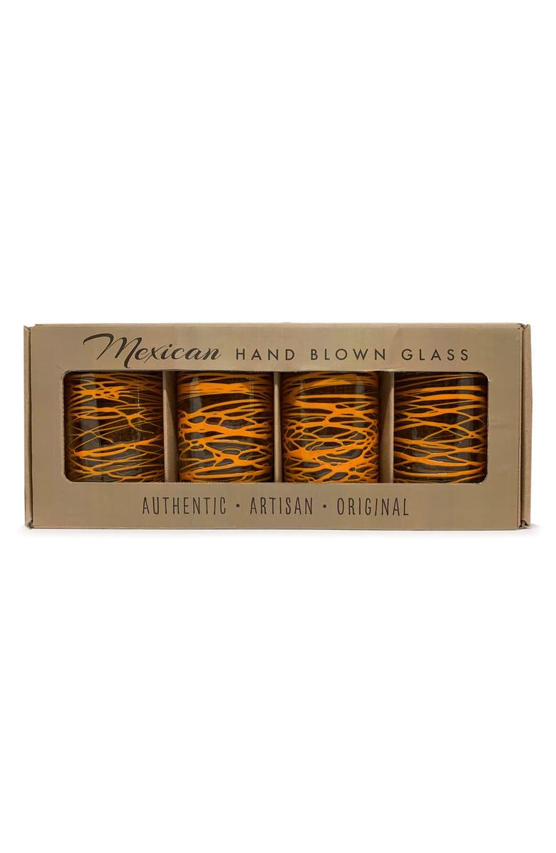 VERVE CULTURE Set of 4 Handblown Glasses, Main, color, ORANGE SWIRL