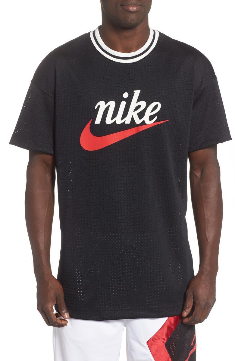 NIKE Mesh T-Shirt, Main, color, BLACK