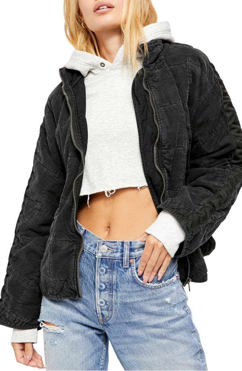 FREE PEOPLE Dolman Sleeve Quilted Denim Jacket, Main, color, 089