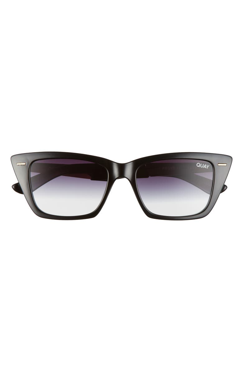 QUAY AUSTRALIA Prove It 52mm Cat Eye Sunglasses, Main, color, BLACK/ BLACK FADE