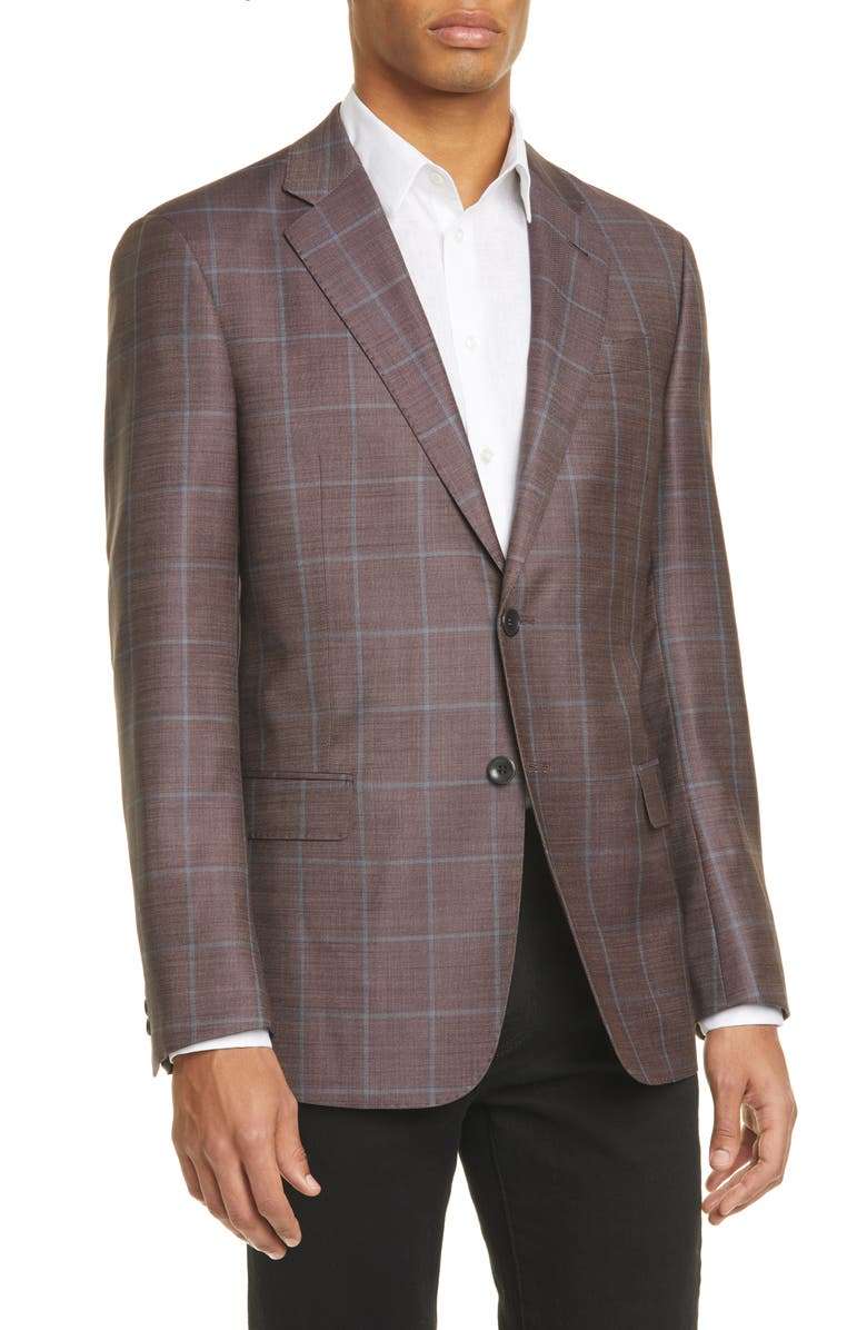 GIORGIO ARMANI Trim Fit Windowpane Wool Sport Coat, Main, color, MERLOT