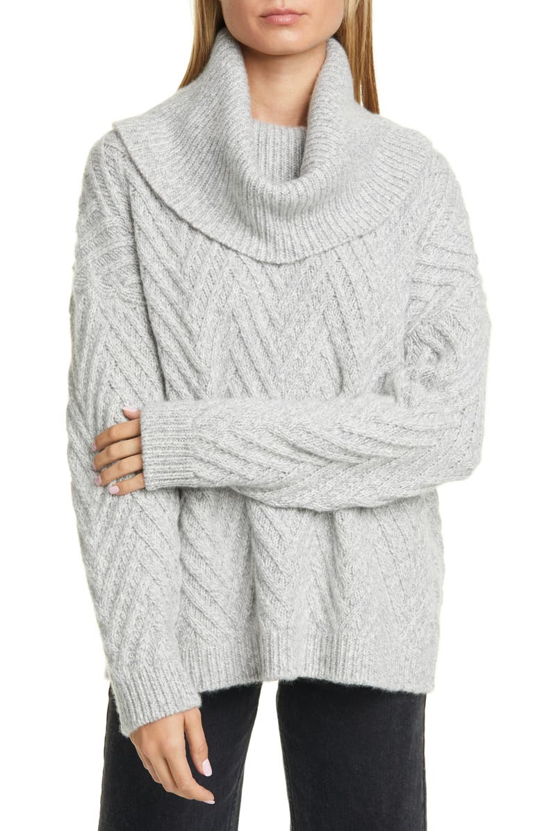 NORDSTROM SIGNATURE Cowl Neck Cashmere Sweater, Main, color, GREY FILIGREE MARL