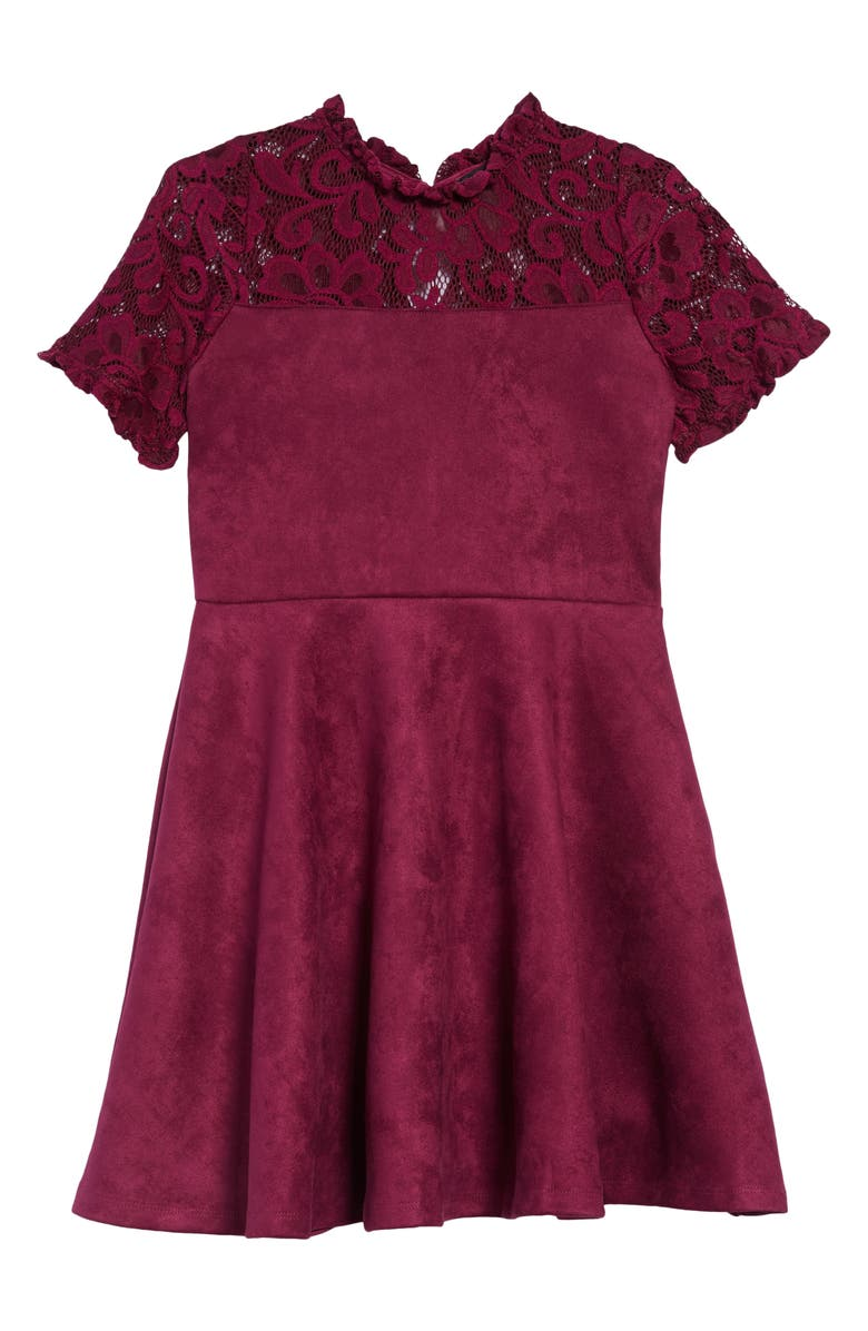AVA & YELLY Lace Yoke Microsuede Skater Dress, Main, color, BERRY