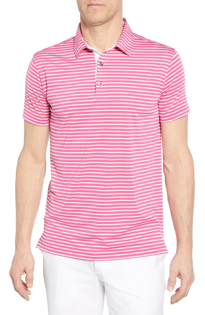 BOBBY JONES Control Stripe Jersey Polo, Main, color, PINK GALAXY/ WHITE