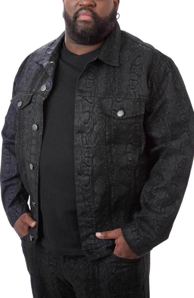 MVP COLLECTIONS Python Print Denim Trucker Jacket, Main, color, PYTHON PRINT