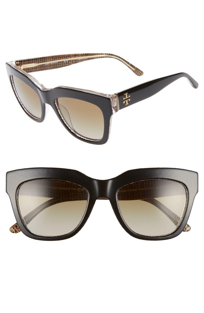 TORY BURCH 53mm Gradient Square Sunglasses, Main, color, 012