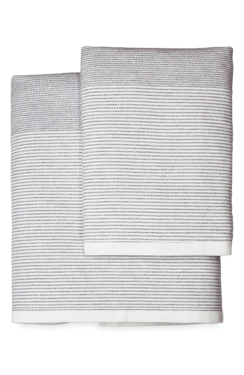 DKNY PURE Stripe Hand Towel, Main, color, WHITE/ BLACK