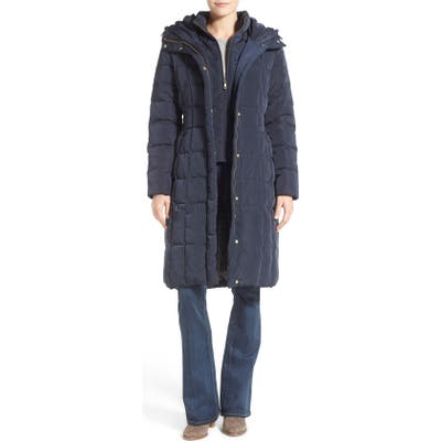 Petite Cole Haan Bib Insert Down & Feather Fill Coat, Blue