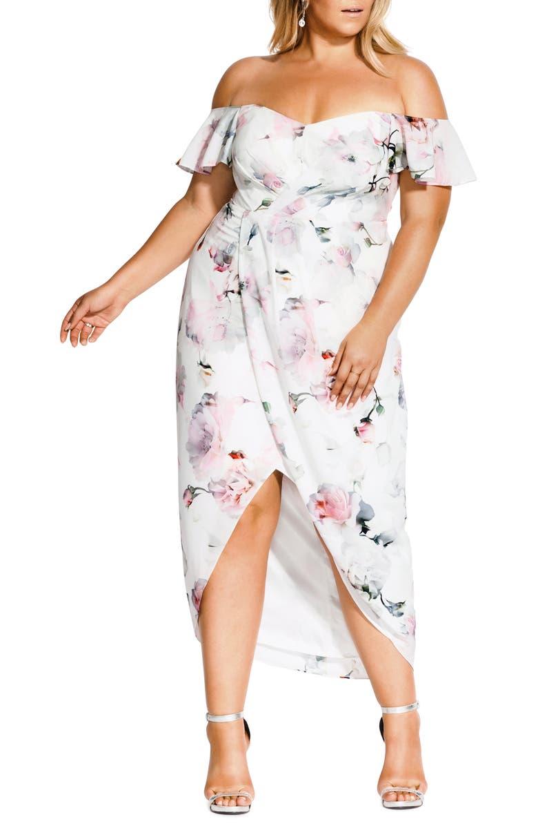 CITY CHIC Heartbreaker Floral Off the Shoulder High/Low Dress, Main, color, HEARTBREAKER FLORAL