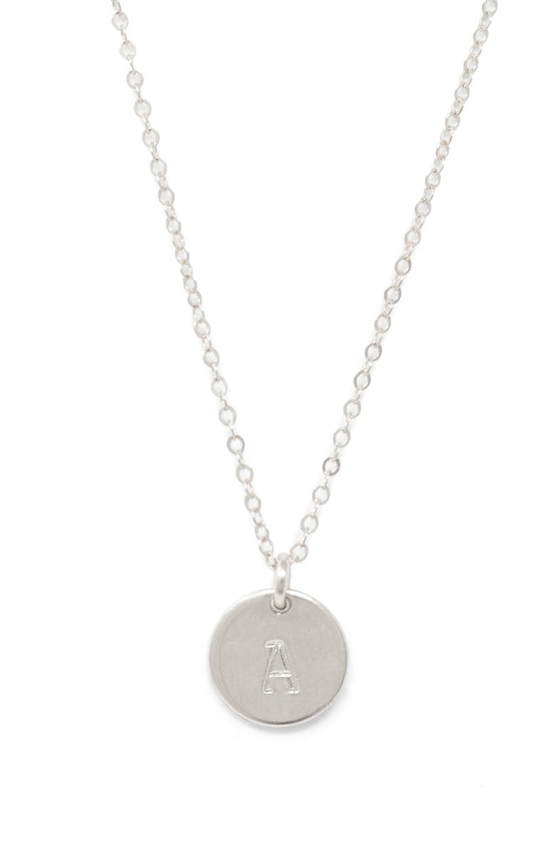 ABLE Mini Tag Initial Pendant Necklace, Main, color, SILVER A