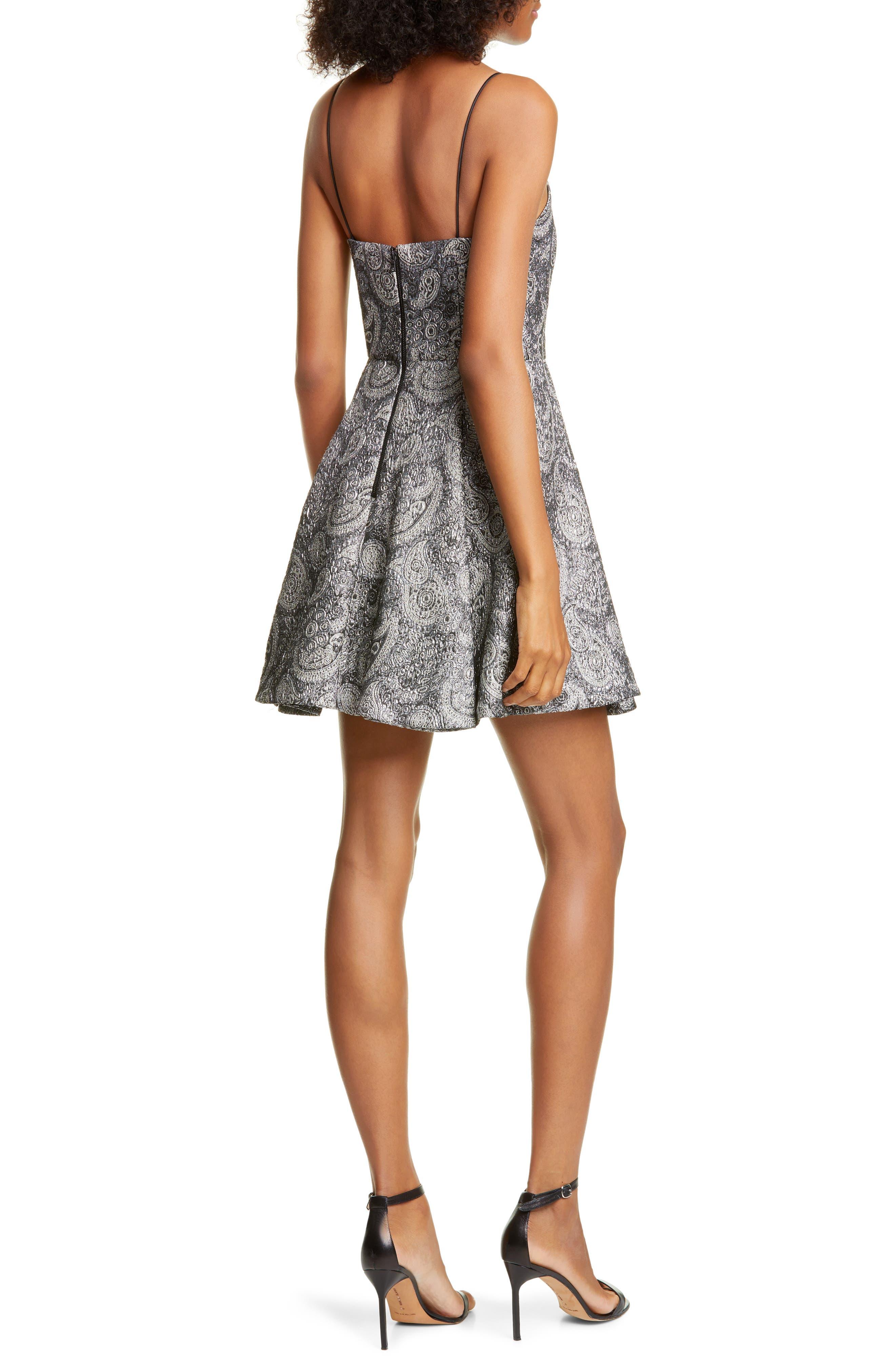 Alice + olivia Anette Metallic Paisley Skater Dress