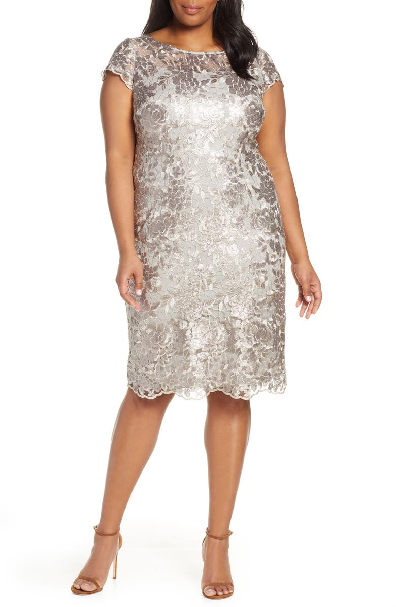 ALEX EVENINGS Cap Sleeve Sequin Embroidered Sheath Dress, Main, color, TAUPE