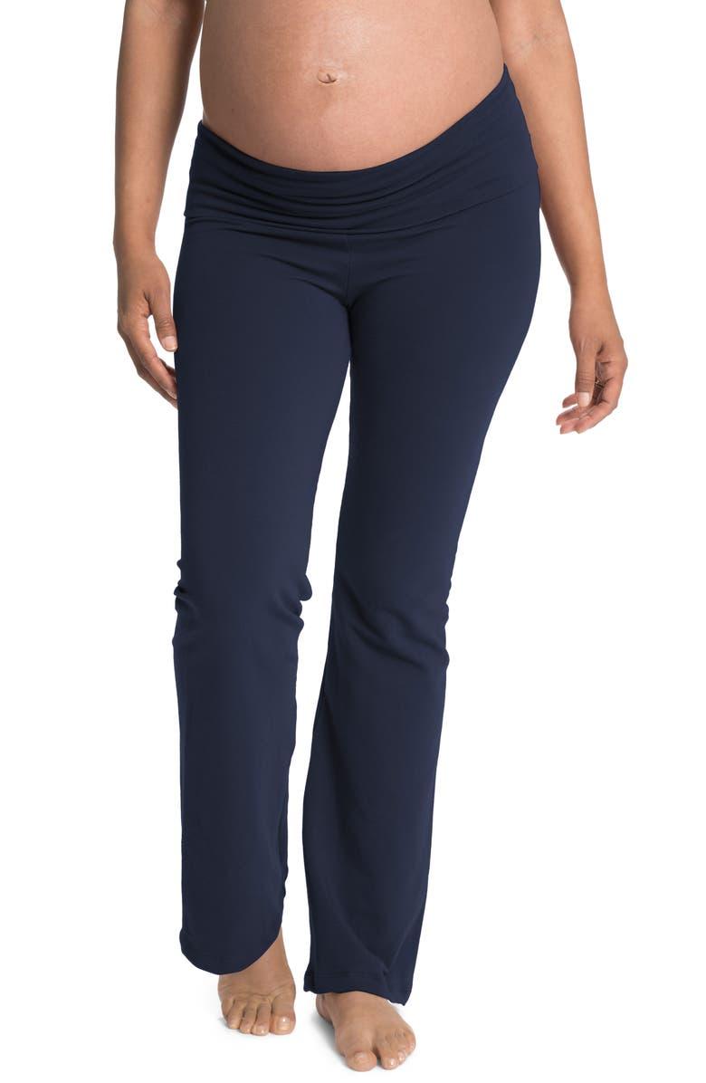 BUN MATERNITY Cozy Wide Leg Foldover Maternity Pants, Main, color, NAVY