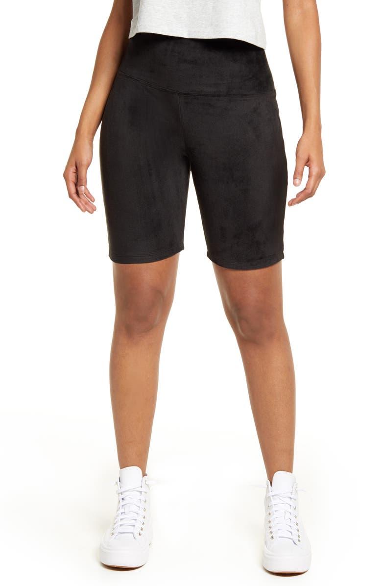 BP. Be Proud by BP Gender Inclusive Velour Bike Shorts, Main, color, BLACK RHINESTONED SMILEY