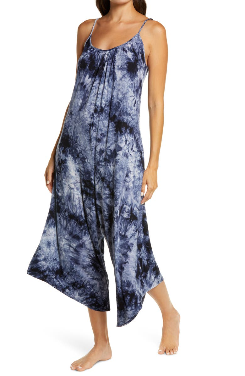 SOCIALITE Lounge Crop Jumpsuit, Main, color, BLUE TIE DYE