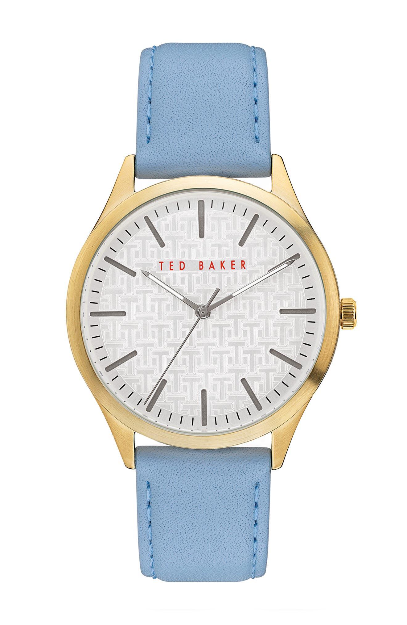 Image of Ted Baker London Men's Manhatt Leather Strap Watch, 40mm