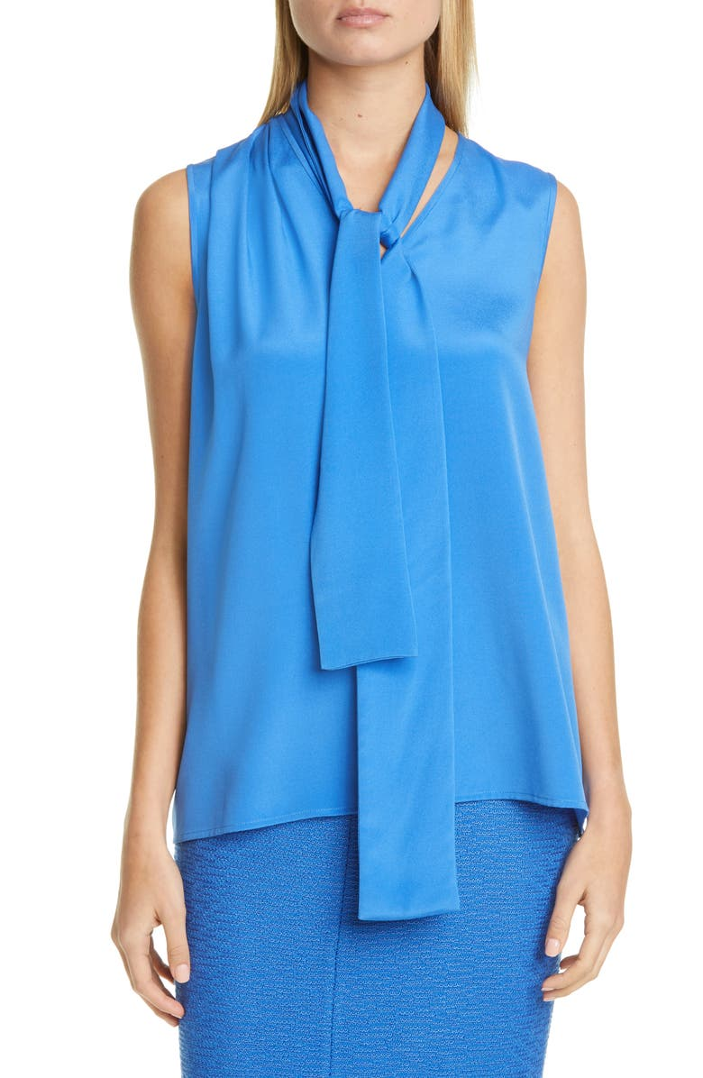 ST. JOHN COLLECTION Stretch Silk Crêpe de Chine Shell with Removable Tie, Main, color, OASIS