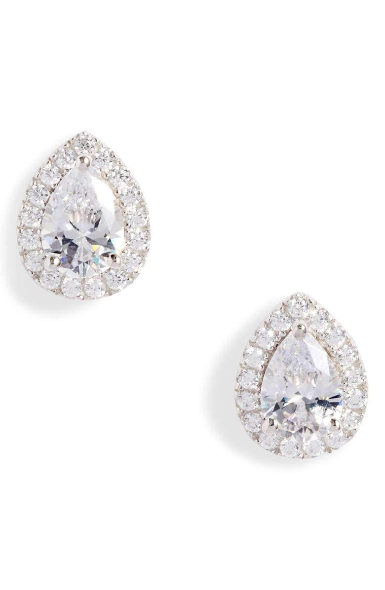 NORDSTROM Pavé Pear Stud Earrings, Main, color, CLEAR- SILVER