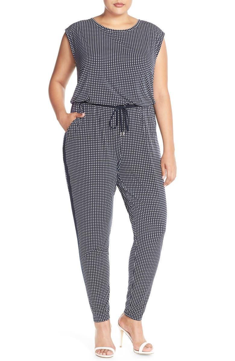 MICHAEL MICHAEL KORS 'Cooper' Contrast Panel Print Jersey Jumpsuit, Main, color, 490