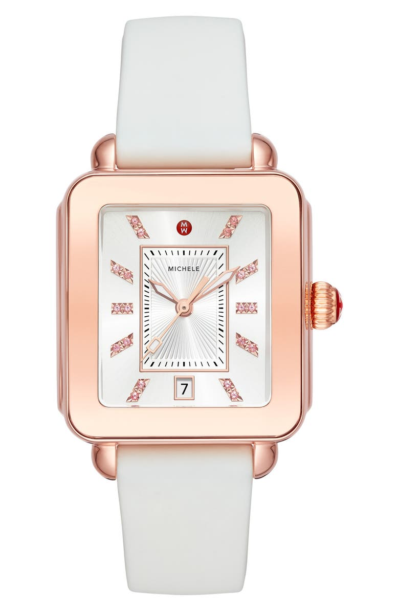 MICHELE Deco Sport Watch Head & Silicone Strap Watch, 34mm x 36mm, Main, color, WHITE/ ROSE GOLD