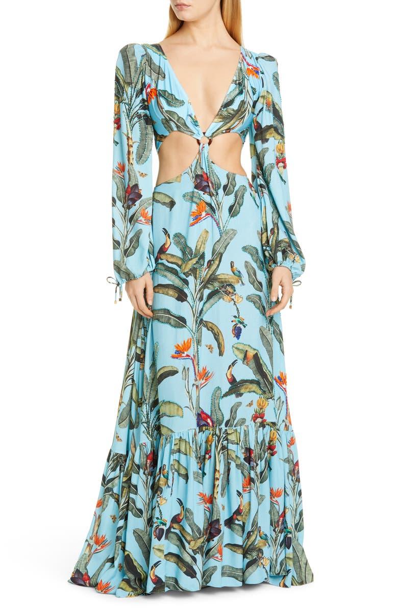 PATBO Tropical Long Sleeve Cutout Gown, Main, color, CERULEAN