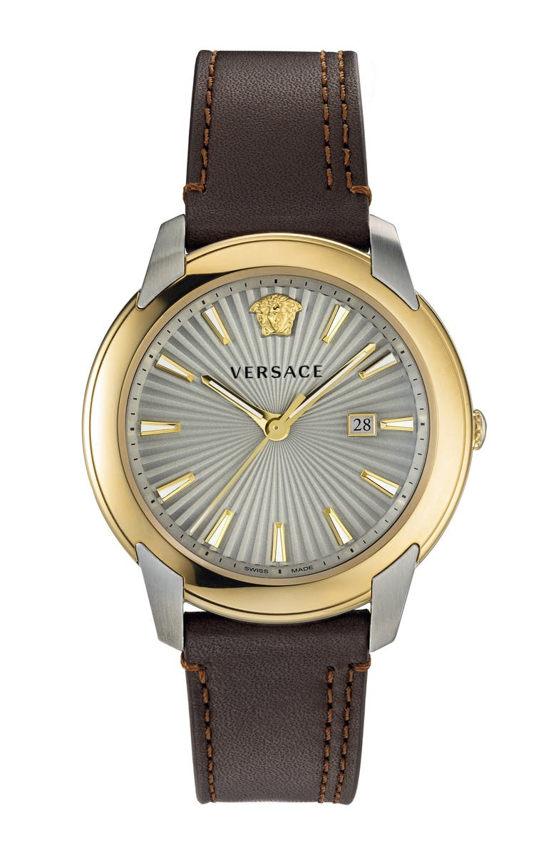 VERSACE Urban Leather Strap Watch, 42mm, Main, color, BROWN/ SILVER/ GOLD
