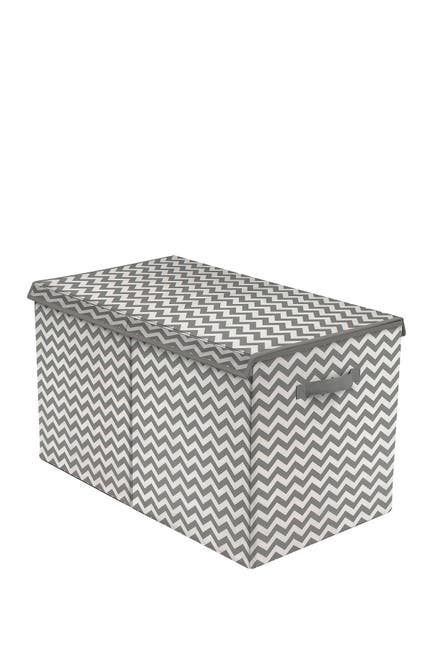 Image of Sorbus Gray Patterned Fabric Toy Chest