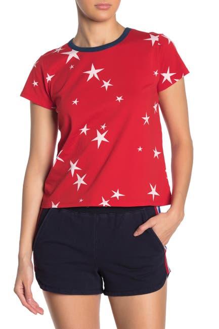 Image of PAM AND GELA Star Print Logo Crop Ringer Tee