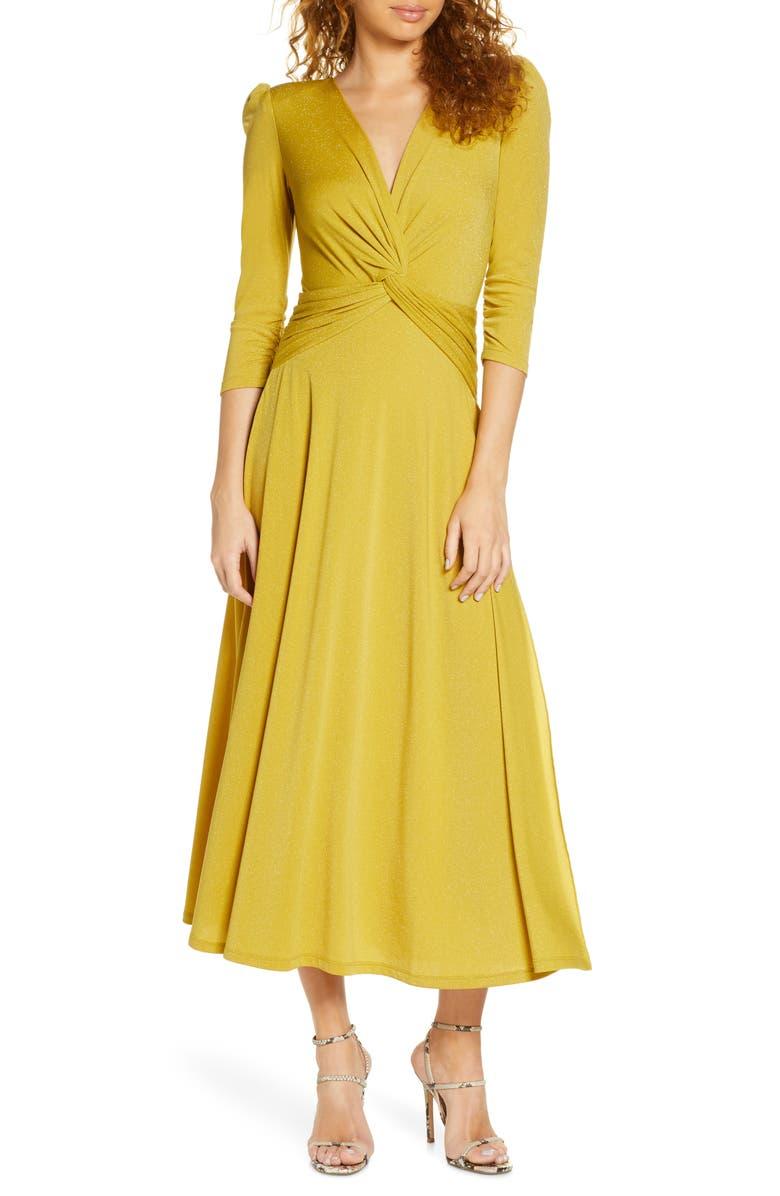 CAARA Callie Fit & Flare Midi Dress, Main, color, GOLD