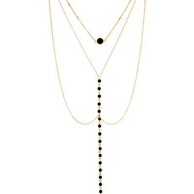 Panacea Black Crystal Layered Pendant Y-Necklace