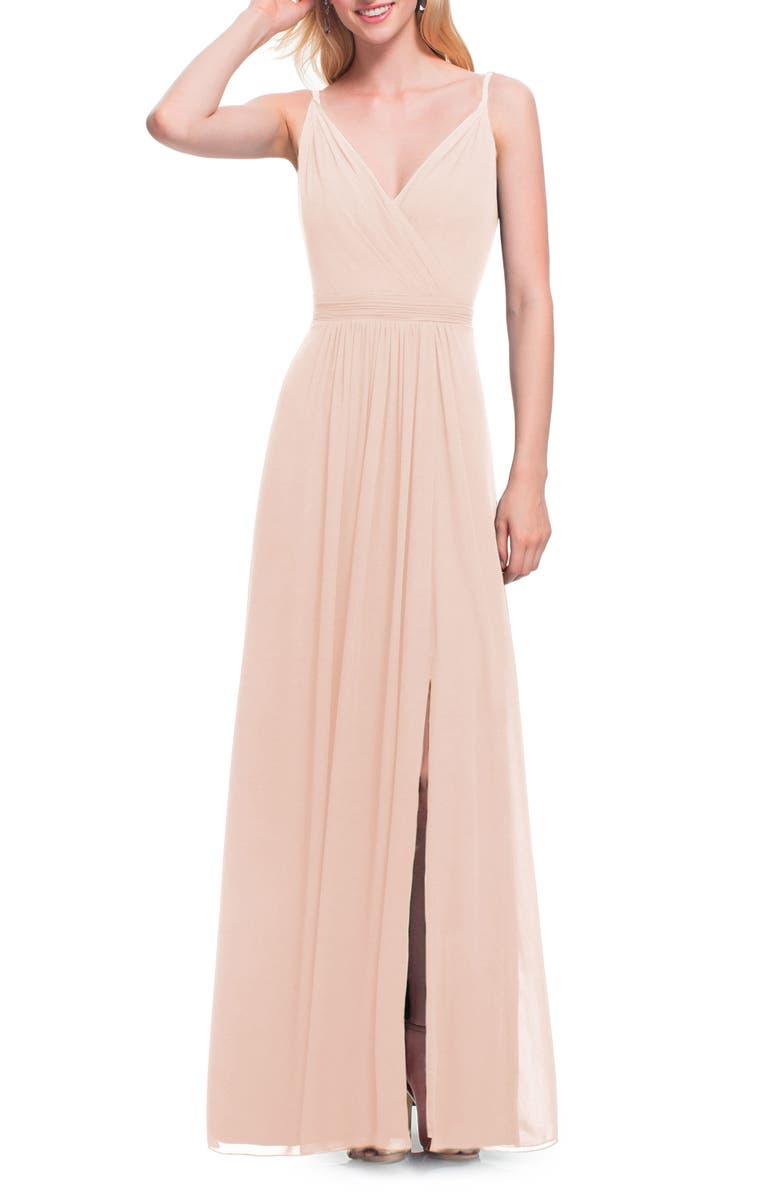 #LEVKOFF Surplice Neck Chiffon A-Line Gown, Main, color, PETAL PINK