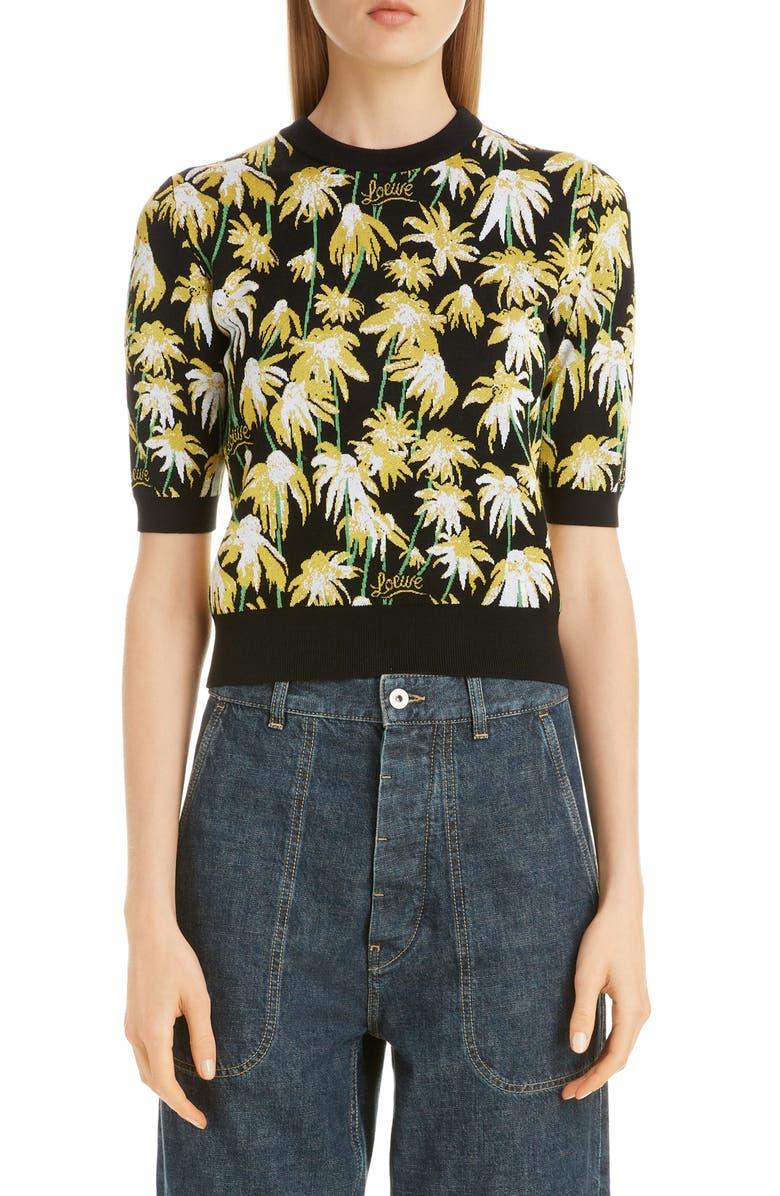 LOEWE Daisy Jacquard Crop Sweater, Main, color, BLACK/ YELLOW
