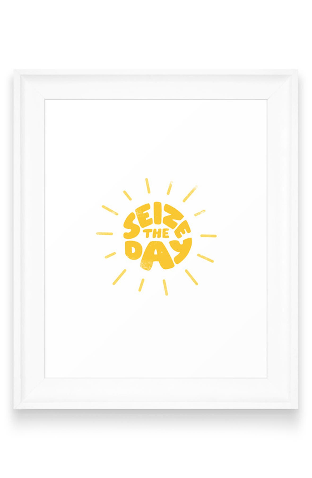 A sun represents every new day and new opportunities on this motivating framed wall art from pop artist Phirst. Style Name: Deny Designs Phirst Seize The Day Wall Art. Style Number: 5988127. Available in stores.