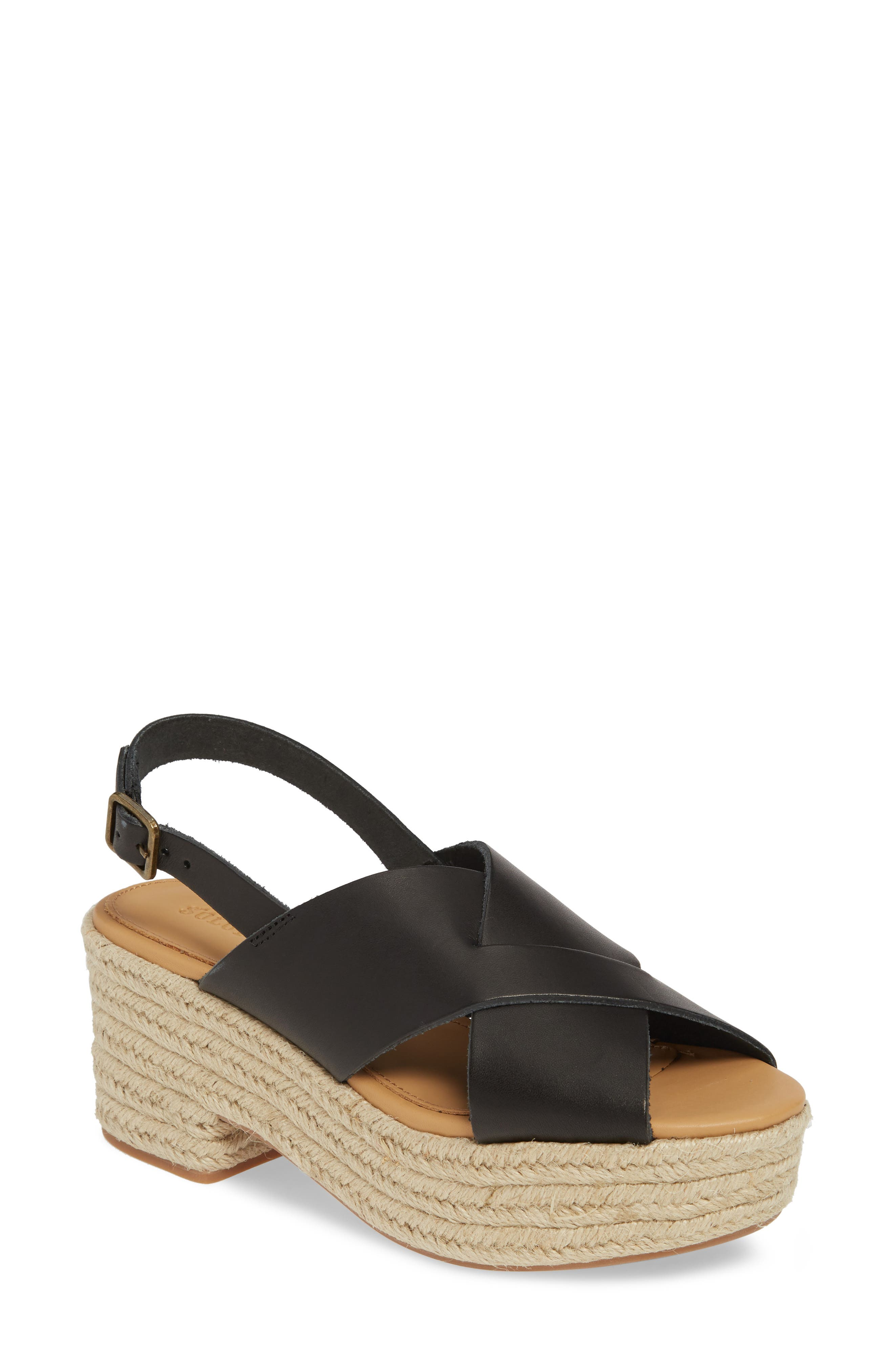 Soludos Amalfi Platform Espadrille Sandal, Black