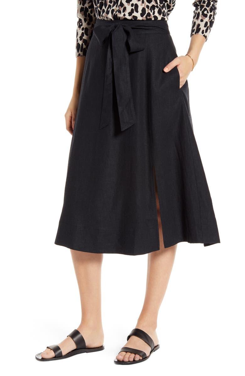 1901 Side Slit Midi Skirt, Main, color, 001
