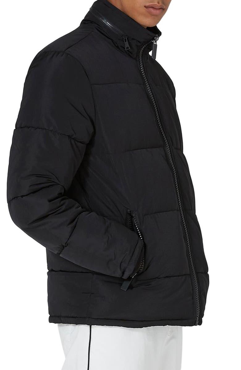 TOPMAN Rex Puffer Jacket, Main, color, 001