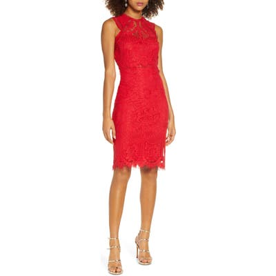 Lulus Sweetness Lace Cocktail Sheath Dress, Red