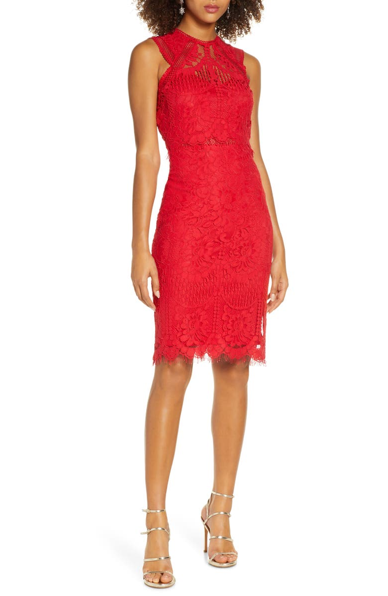 LULUS Sweetness Lace Cocktail Sheath Dress, Main, color, RED