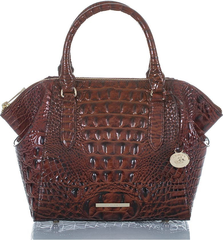 BRAHMIN Mini Camila Croc Embossed Leather Satchel, Main, color, PECAN