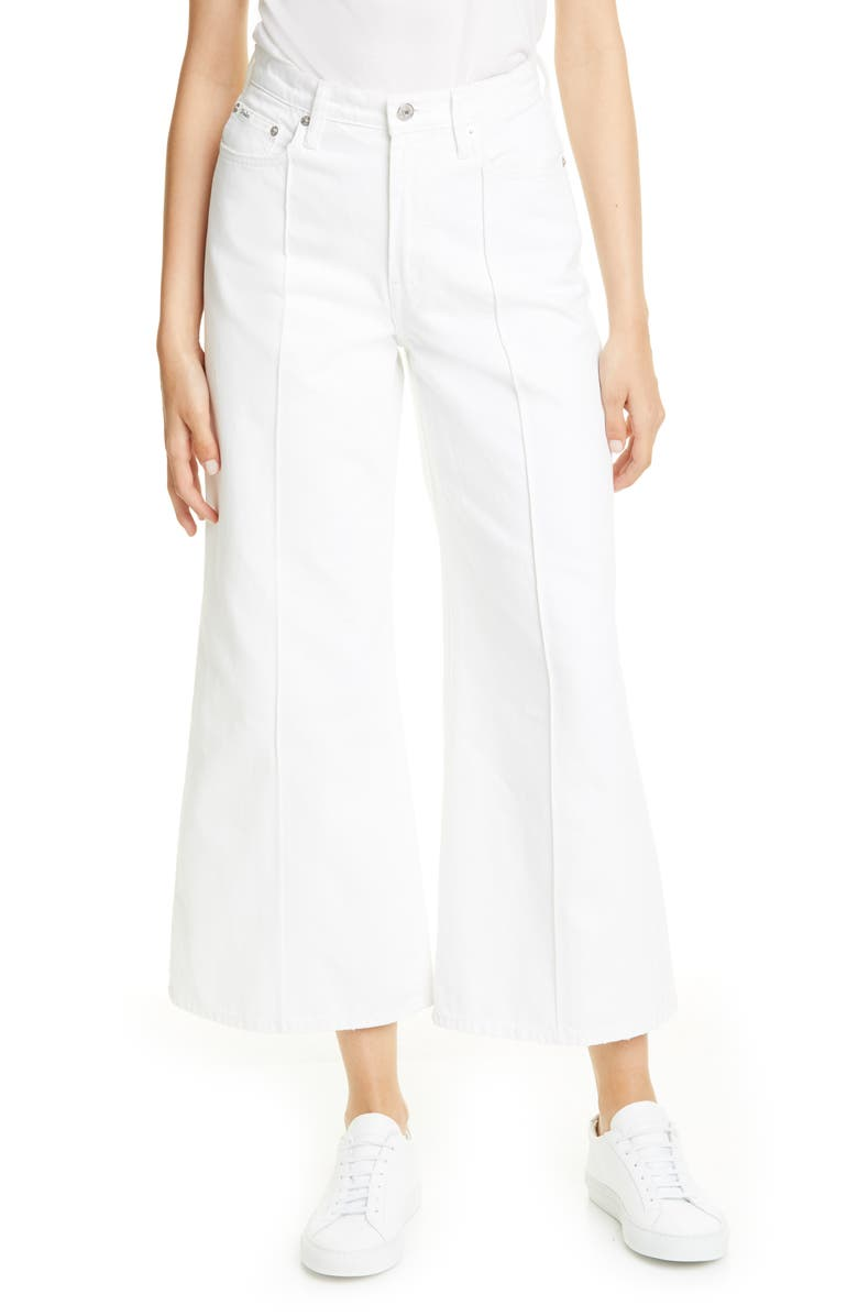 POLO RALPH LAUREN BB Wide Leg Crop Jeans, Main, color, WHITE