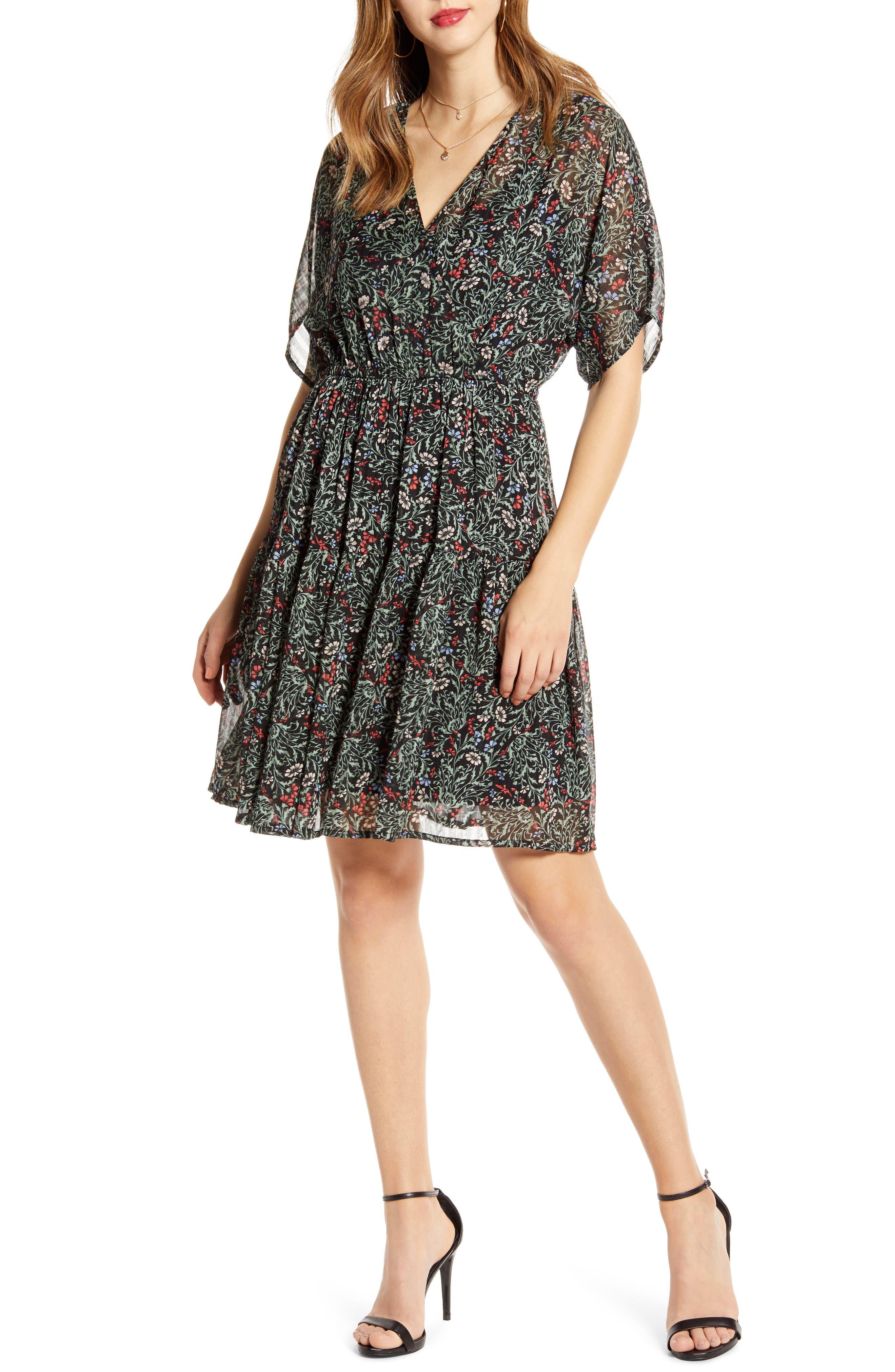 Vero Moda Liva Floral Print Chiffon Dress, Black