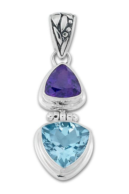 Image of Samuel B Jewelry Sterling Silver Amethyst & Blue Topaz Pendant
